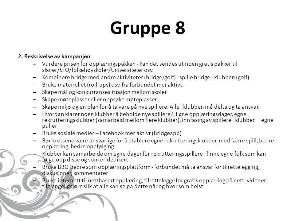 Gruppe 8 2. Beskrivelse av kampanjen