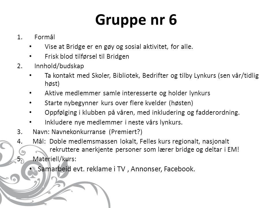 Gruppe nr 6 Samarbeid evt. reklame i TV , Annonser, Facebook. Formål