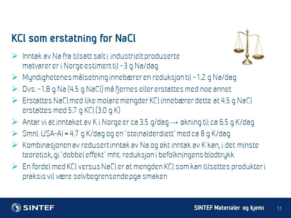 KCl som erstatning for NaCl