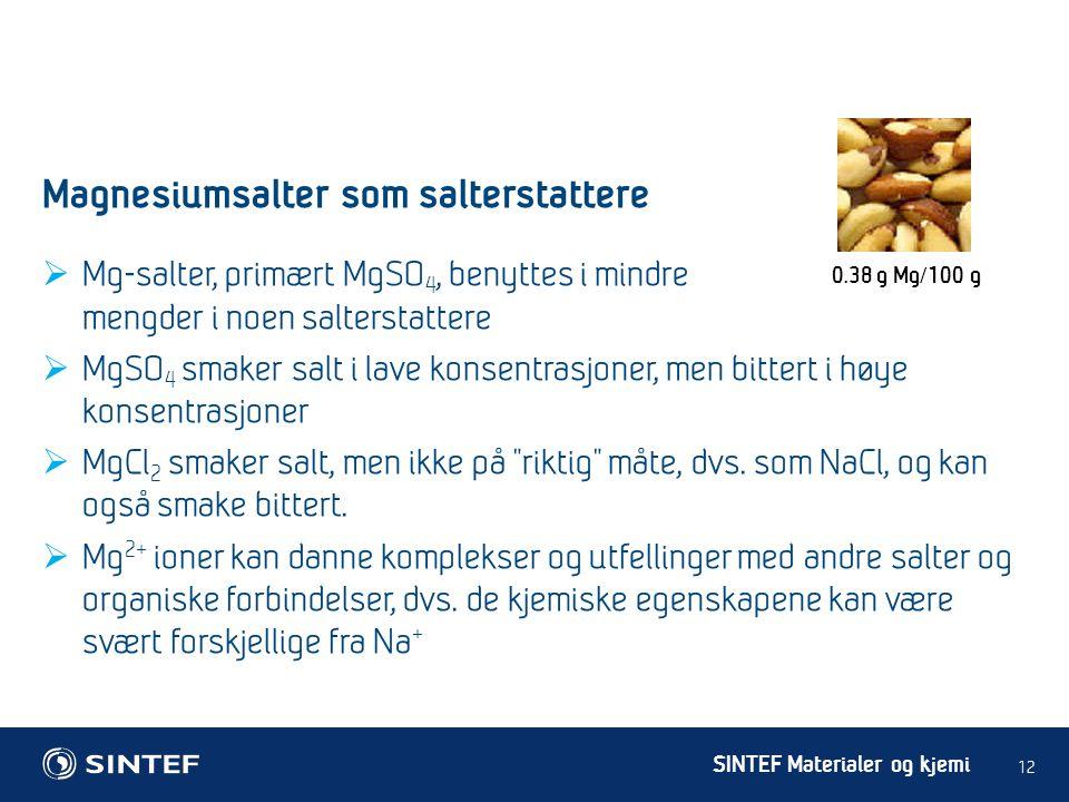 Magnesiumsalter som salterstattere