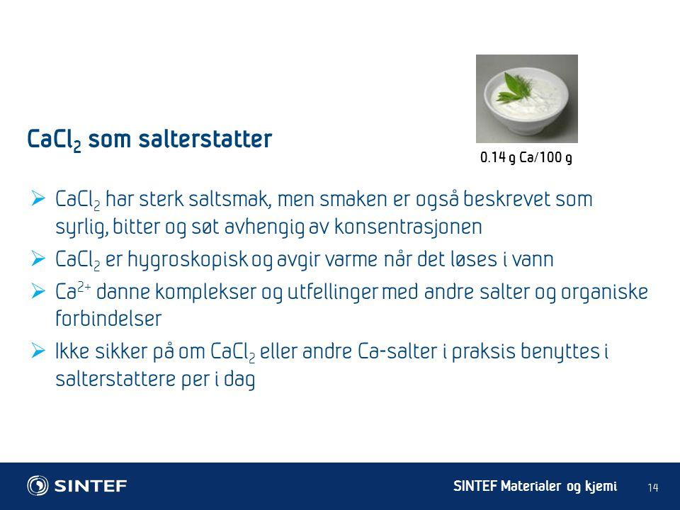 CaCl2 som salterstatter