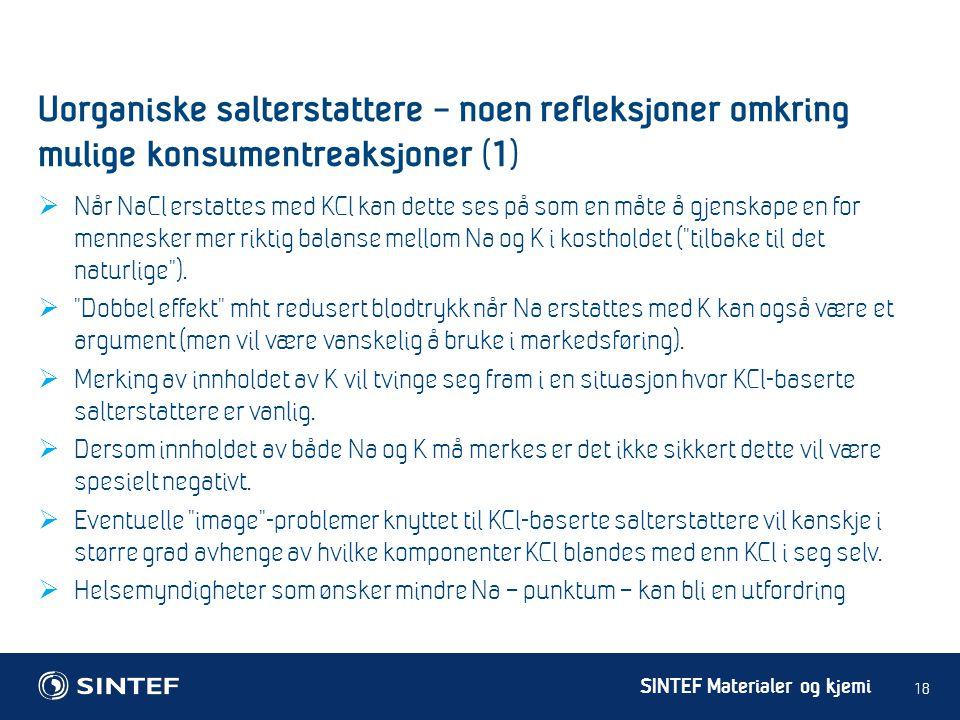 Uorganiske salterstattere – noen refleksjoner omkring mulige konsumentreaksjoner (1)