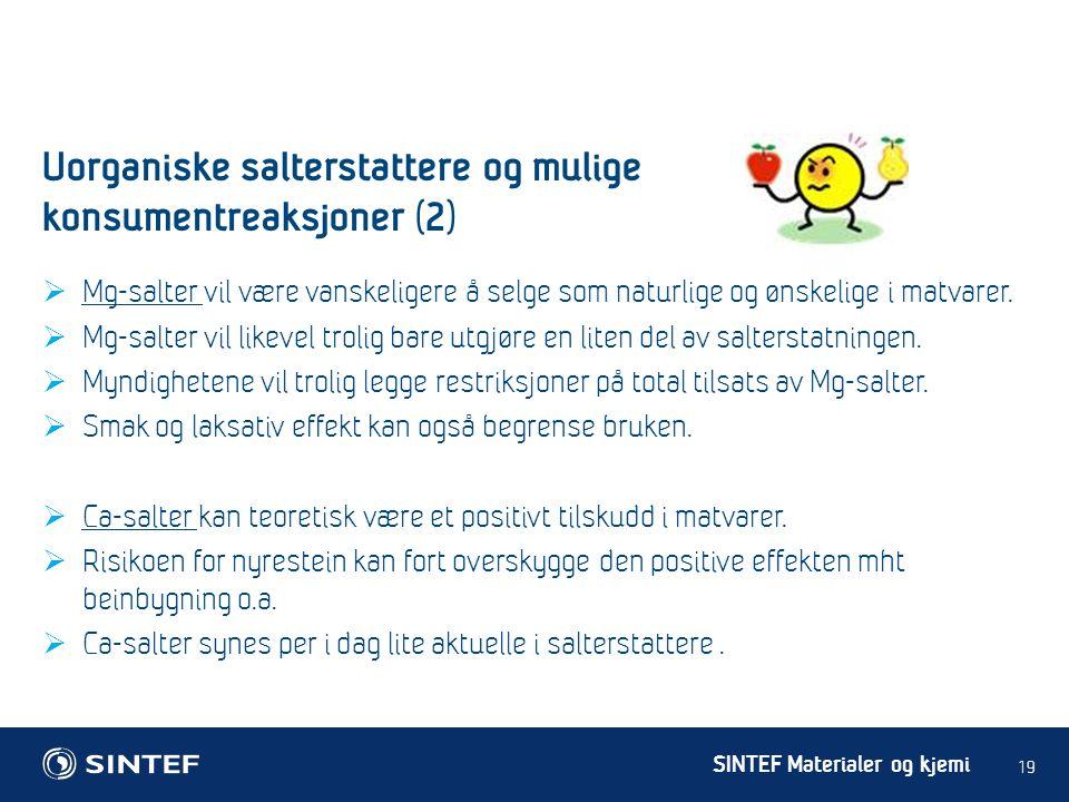 Uorganiske salterstattere og mulige konsumentreaksjoner (2)