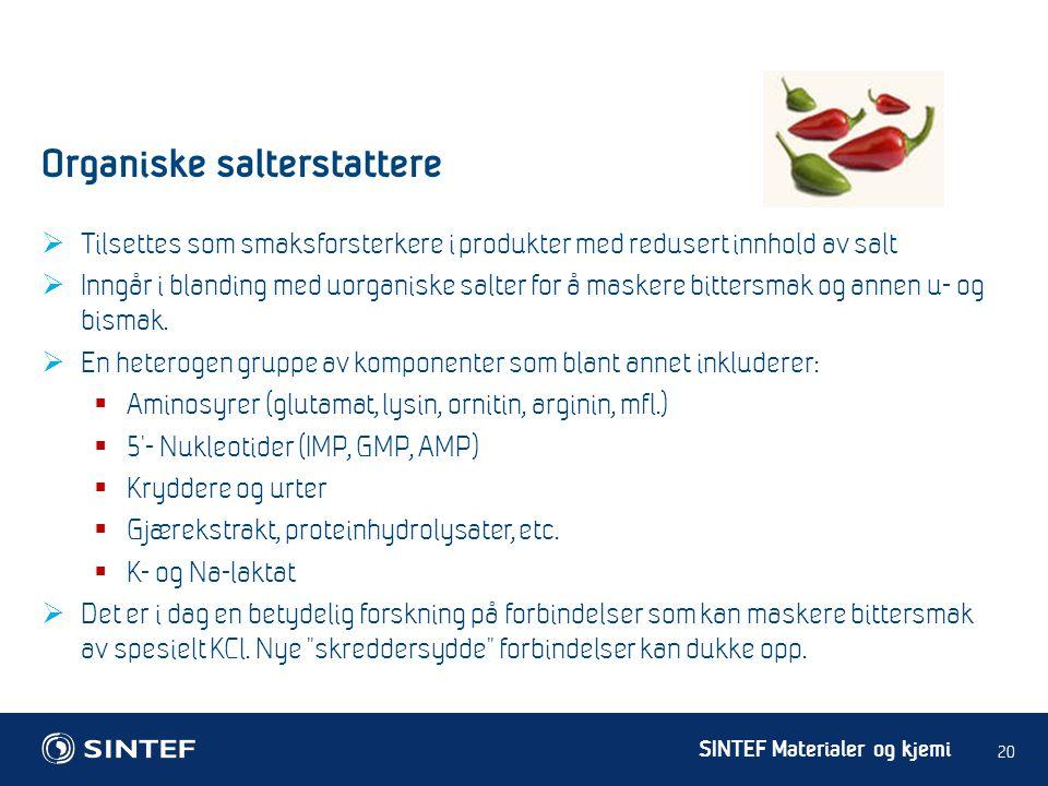 Organiske salterstattere
