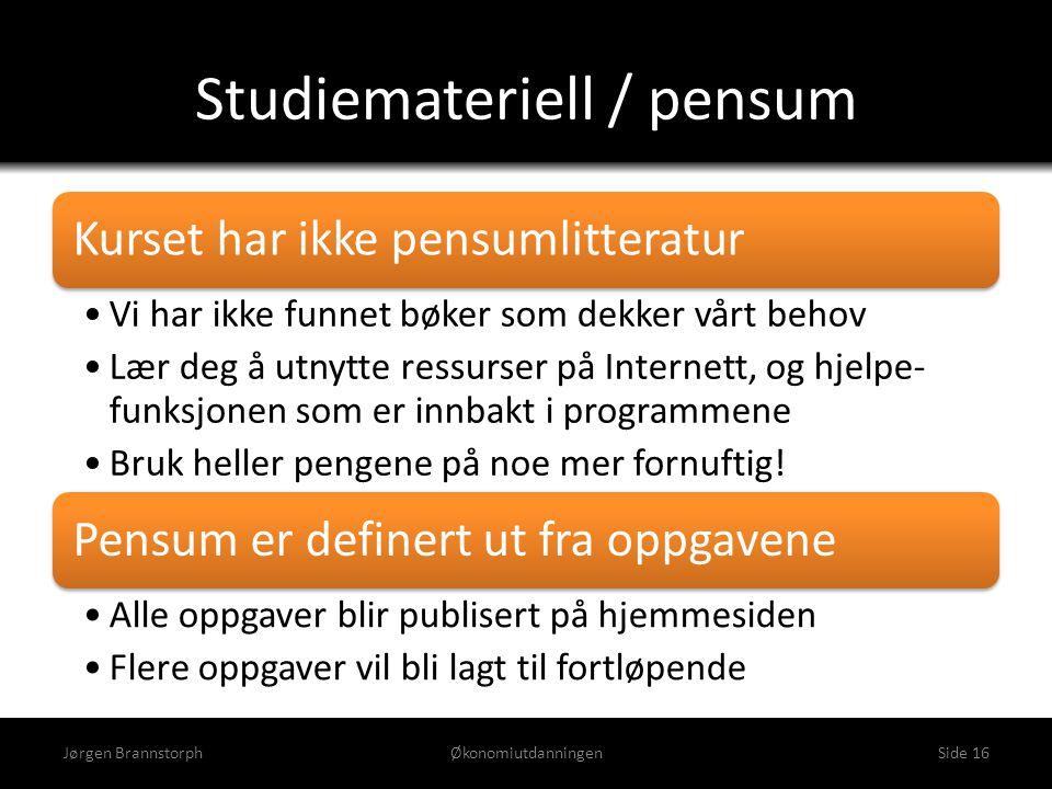 Studiemateriell / pensum