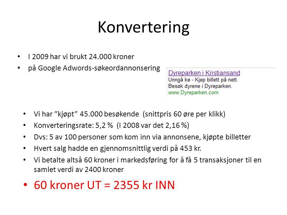 Konvertering 60 kroner UT = 2355 kr INN