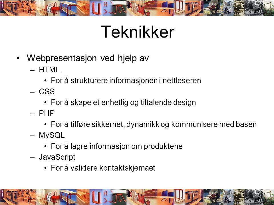 Teknikker Webpresentasjon ved hjelp av HTML