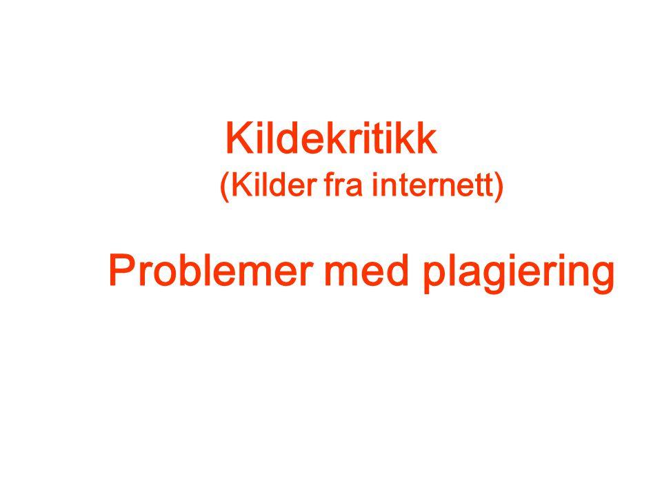 Kildekritikk (Kilder fra internett) Problemer med plagiering