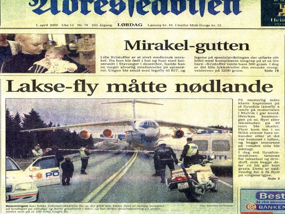 Adresseavisa 1/4 2000: Russisk transportfly nødlandet på motorveien nord for Malvik.