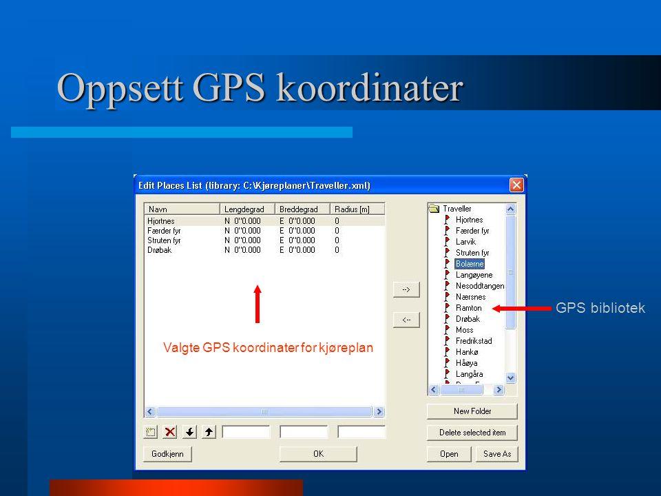 Oppsett GPS koordinater