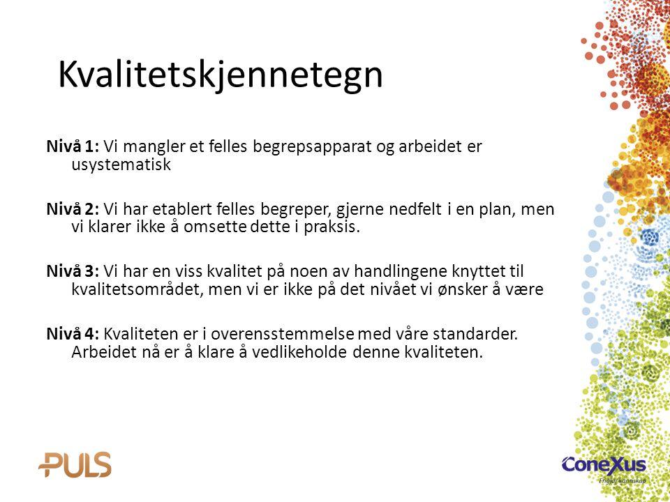 Kvalitetskjennetegn Nivå 1: Vi mangler et felles begrepsapparat og arbeidet er usystematisk.