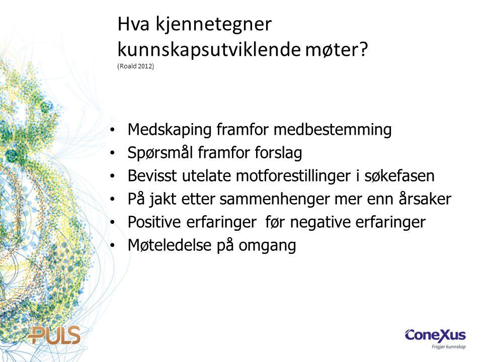 Hva kjennetegner kunnskapsutviklende møter (Roald 2012)
