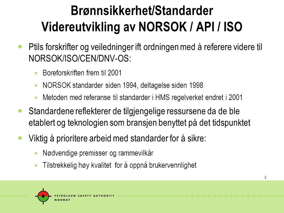 Brønnsikkerhet/Standarder Videreutvikling av NORSOK / API / ISO
