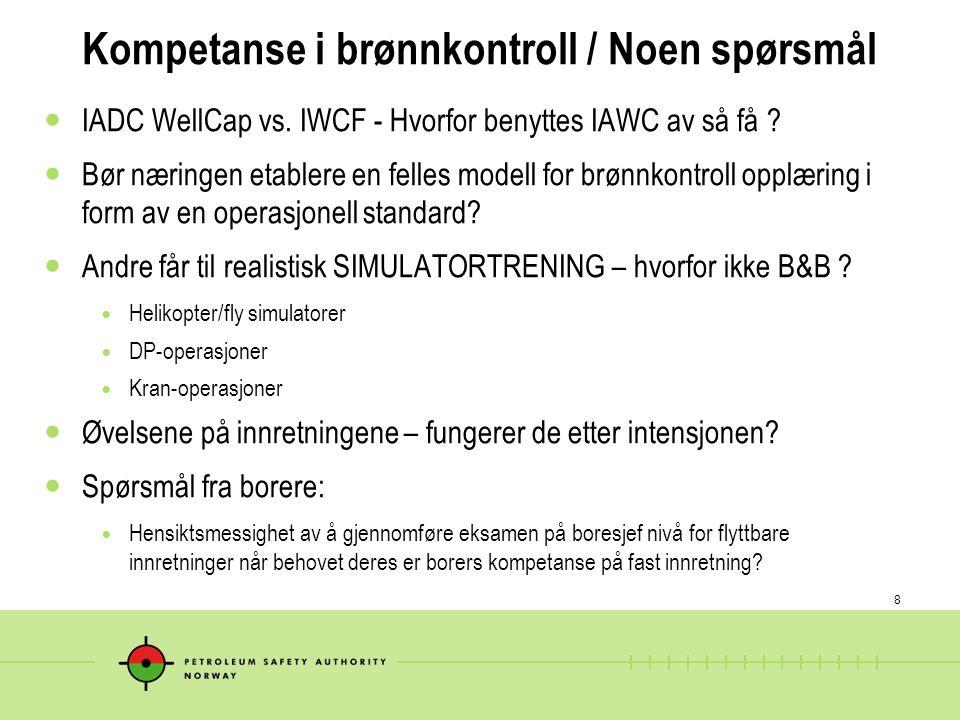 Kompetanse i brønnkontroll / Noen spørsmål