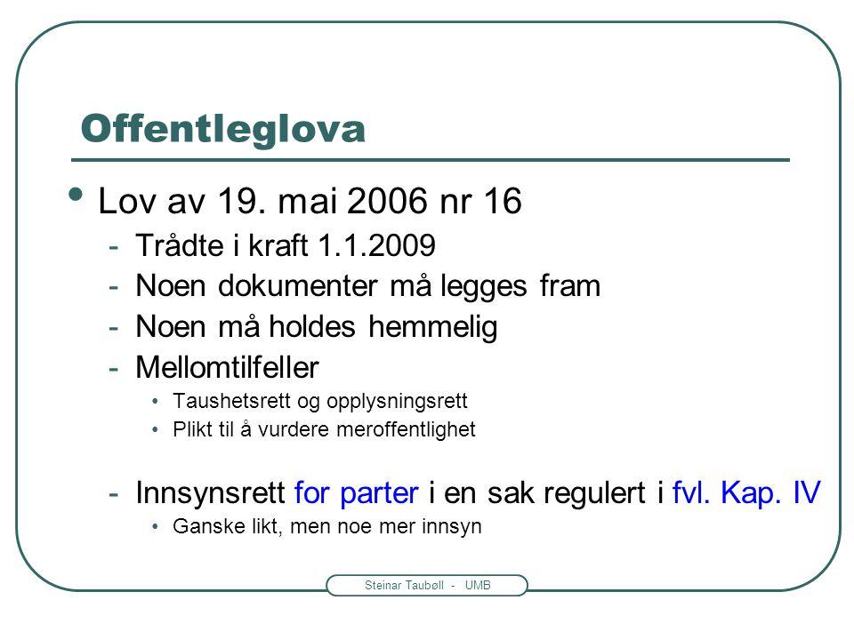Offentleglova Lov av 19. mai 2006 nr 16 Trådte i kraft 1.1.2009