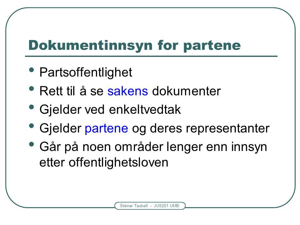 Dokumentinnsyn for partene