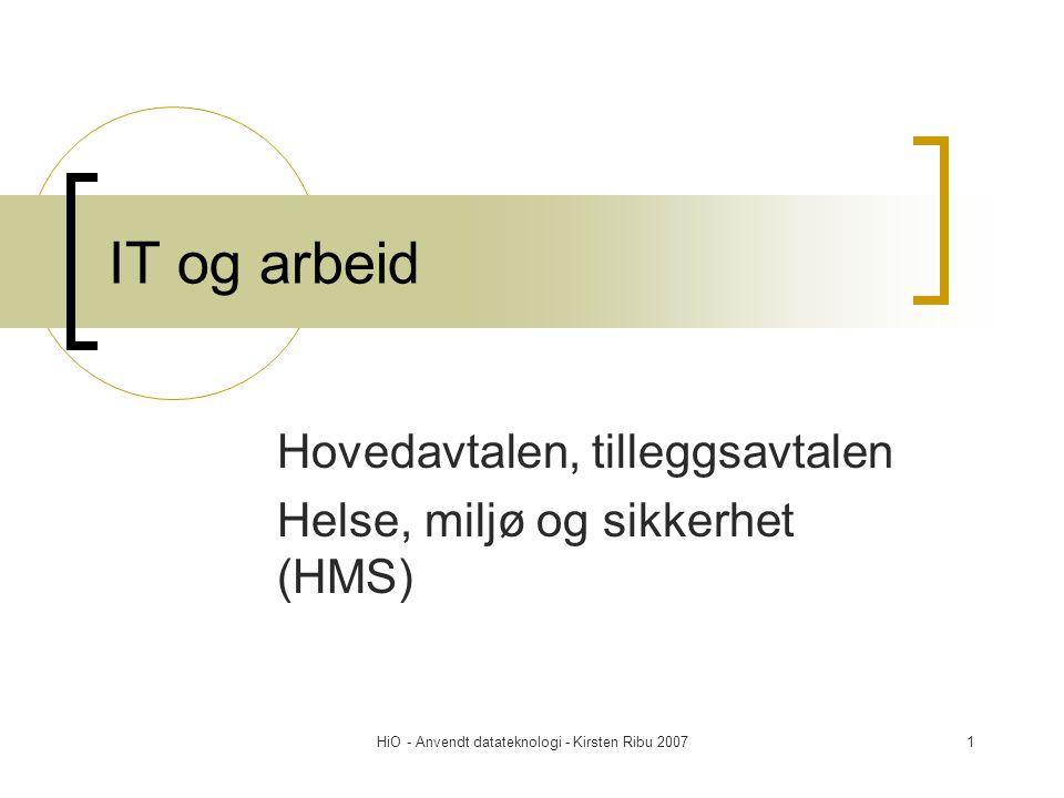 Hovedavtalen, tilleggsavtalen Helse, miljø og sikkerhet (HMS)