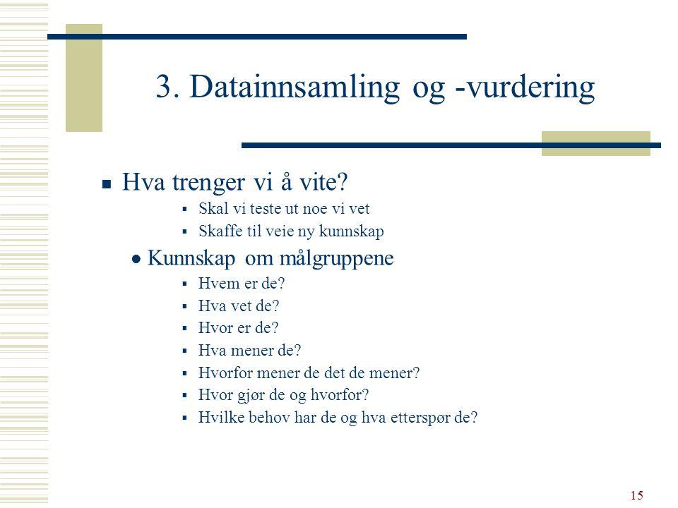 3. Datainnsamling og -vurdering