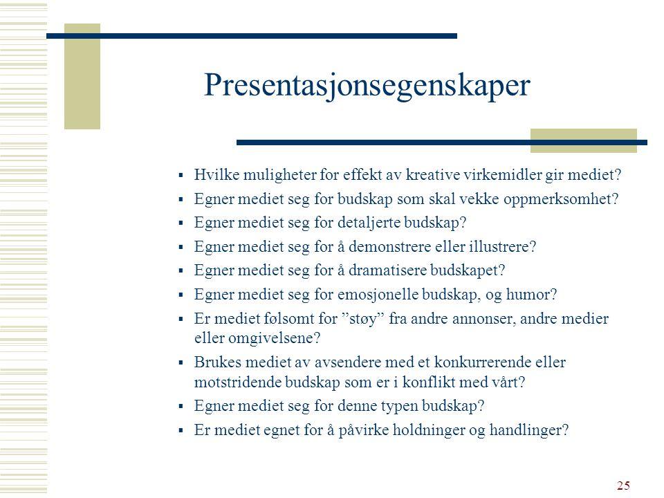 Presentasjonsegenskaper