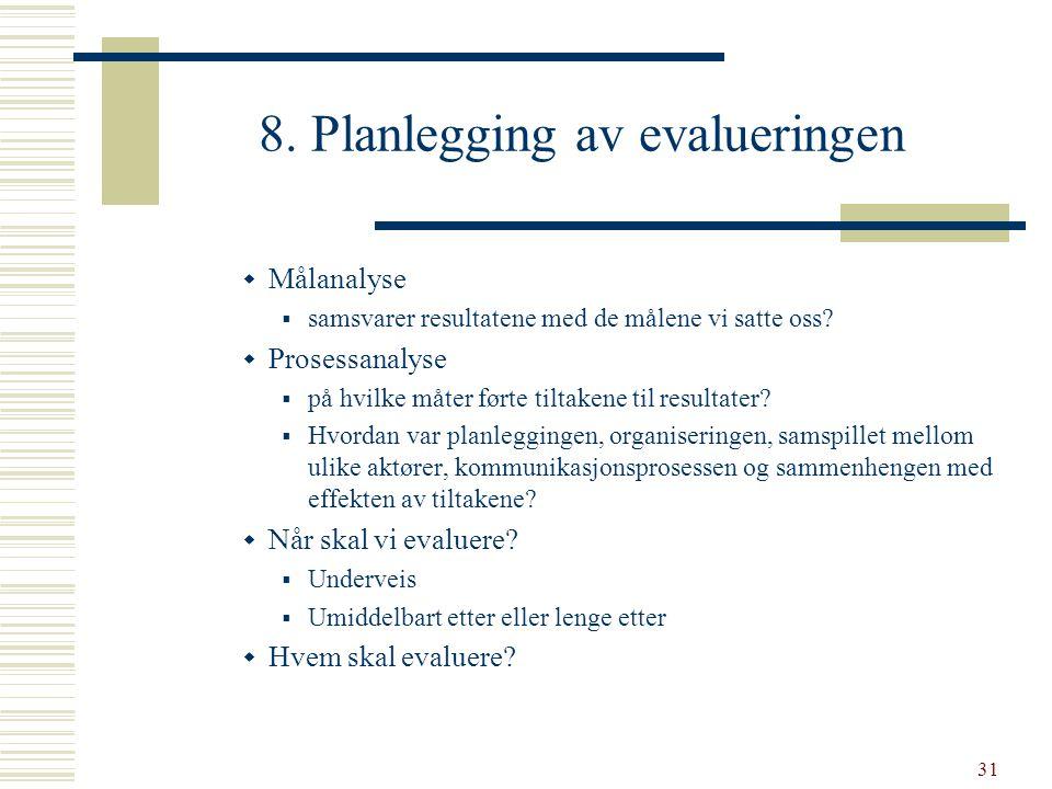 8. Planlegging av evalueringen
