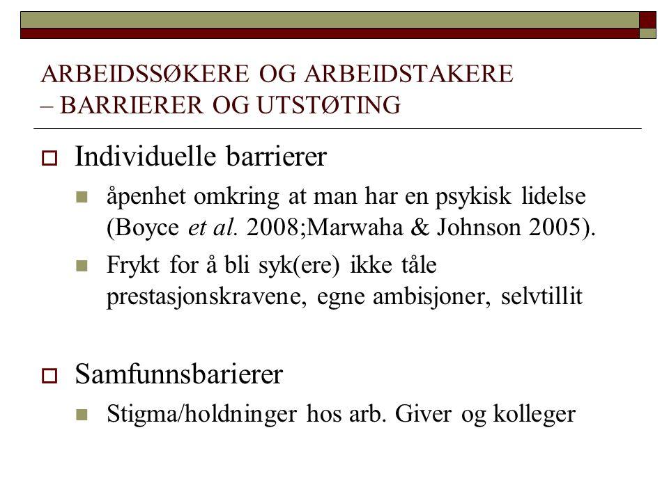 ARBEIDSSØKERE OG ARBEIDSTAKERE – BARRIERER OG UTSTØTING