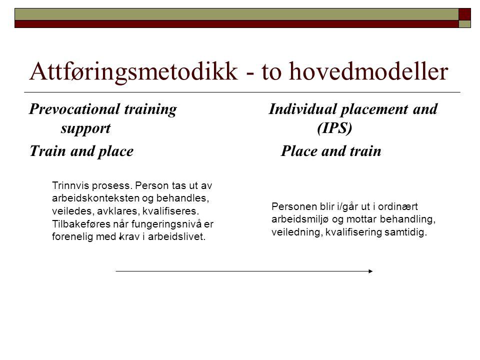Attføringsmetodikk - to hovedmodeller