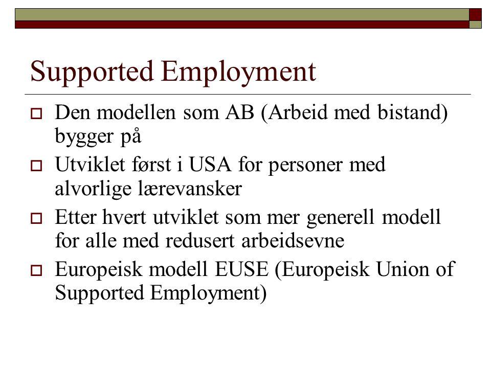 Supported Employment Den modellen som AB (Arbeid med bistand) bygger på. Utviklet først i USA for personer med alvorlige lærevansker.