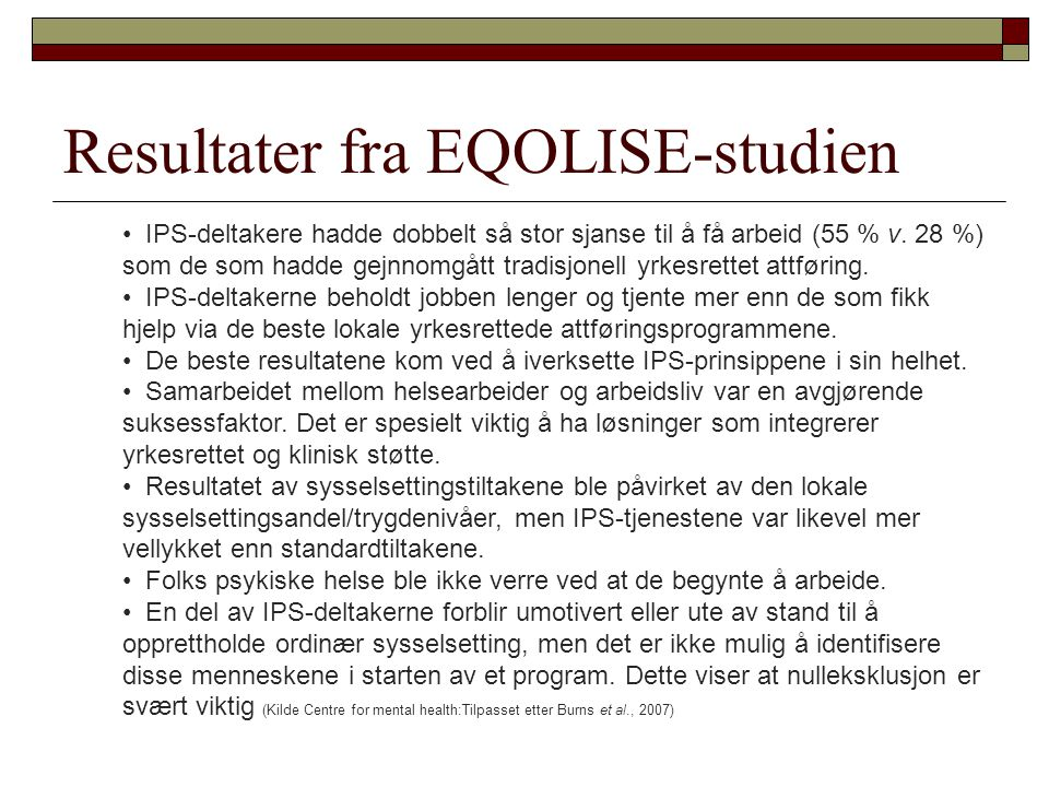 Resultater fra EQOLISE-studien