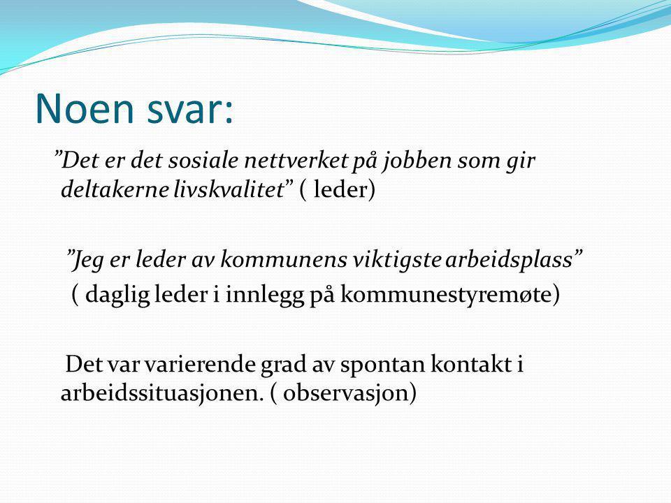 Noen svar: Det er det sosiale nettverket på jobben som gir deltakerne livskvalitet ( leder) Jeg er leder av kommunens viktigste arbeidsplass