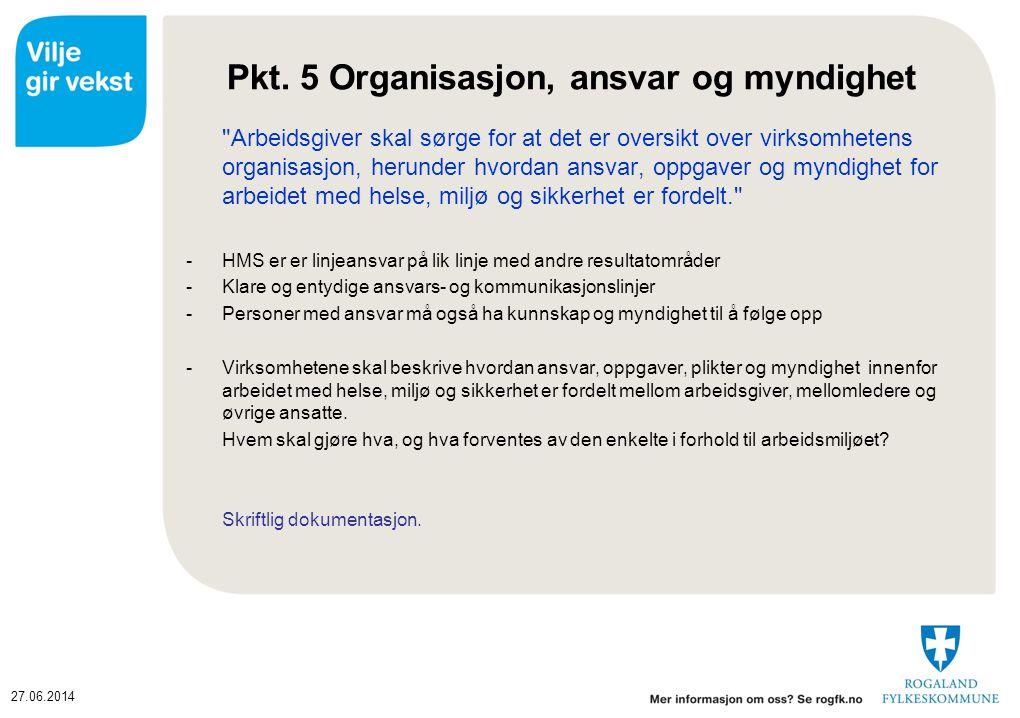 Pkt. 5 Organisasjon, ansvar og myndighet