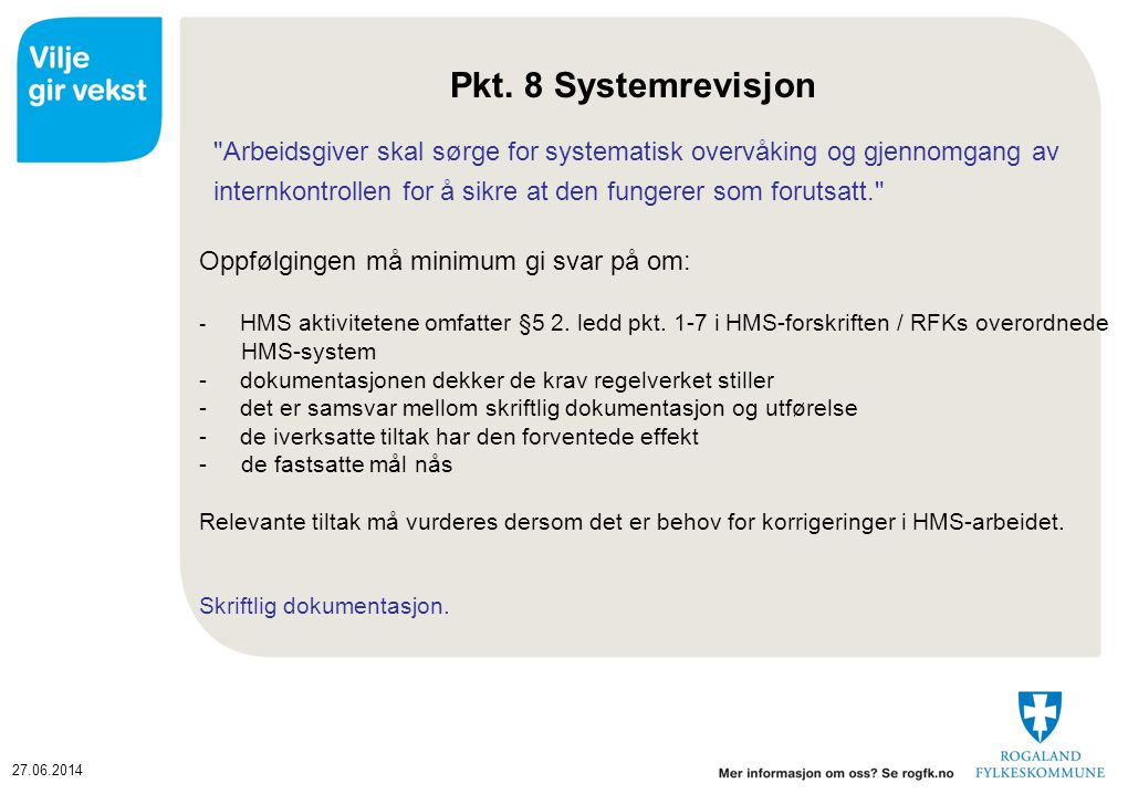 Pkt. 8 Systemrevisjon