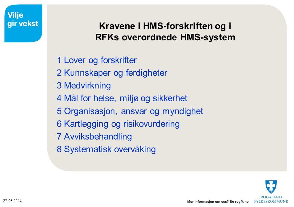Kravene i HMS-forskriften og i RFKs overordnede HMS-system