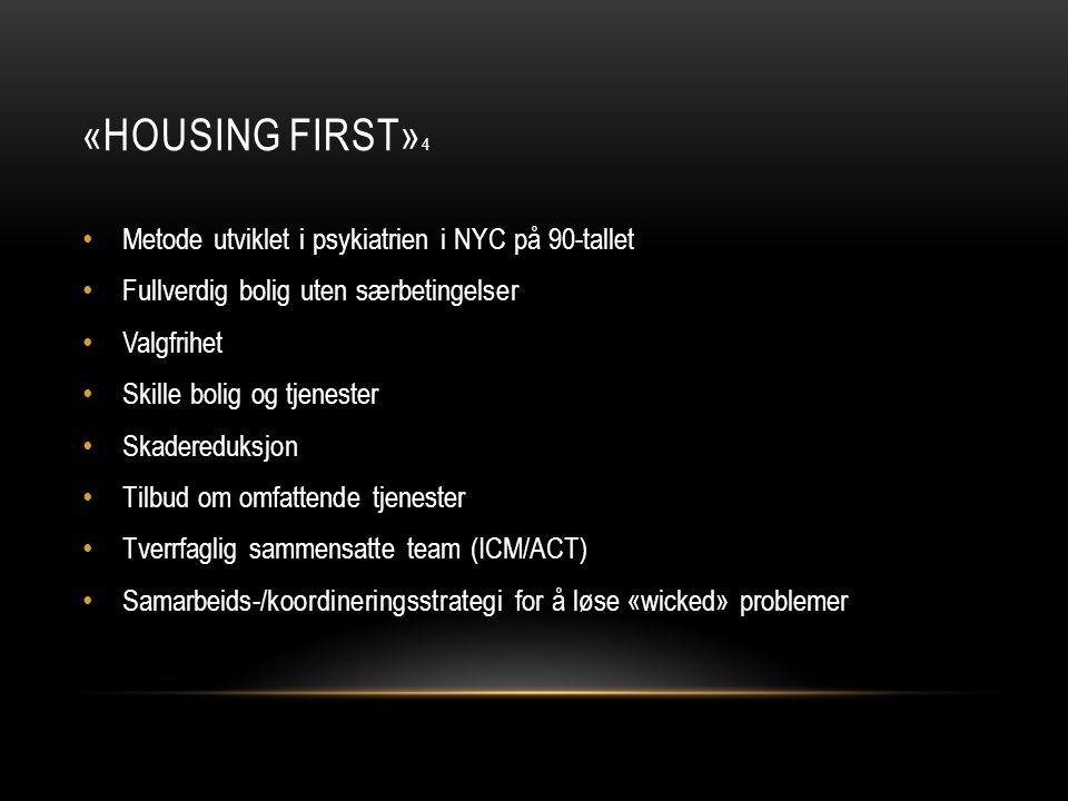 «Housing first»4 Metode utviklet i psykiatrien i NYC på 90-tallet