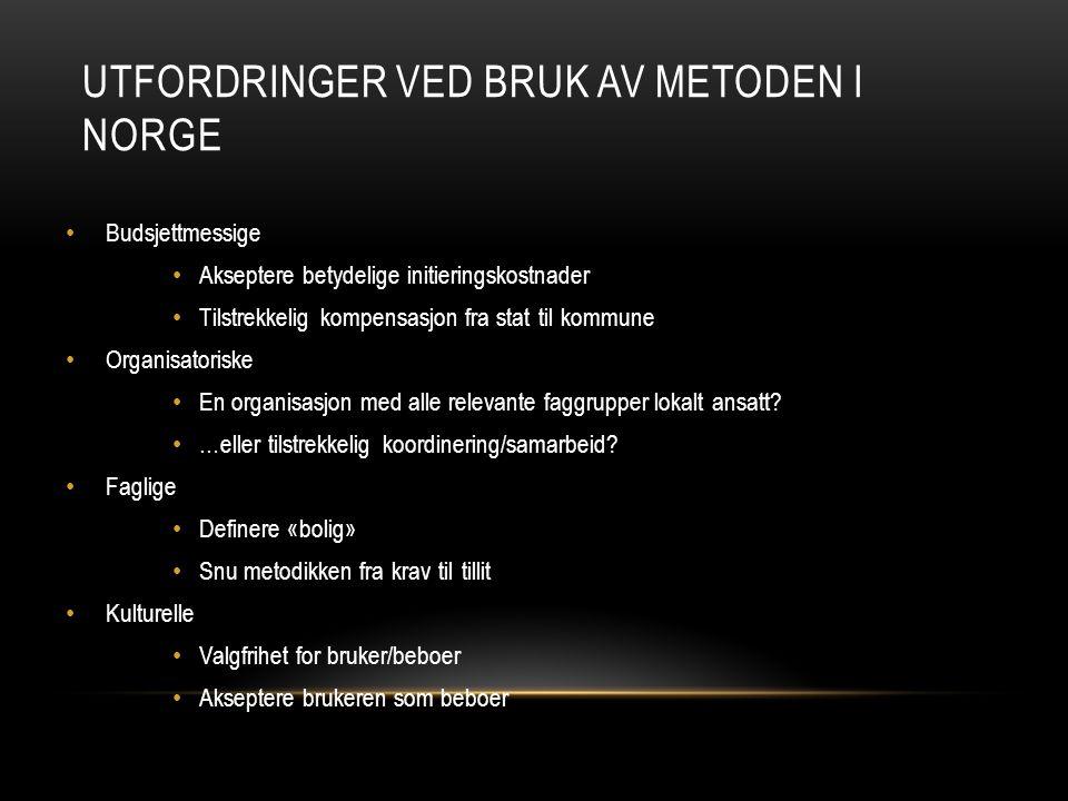 Utfordringer ved bruk av metoden i Norge