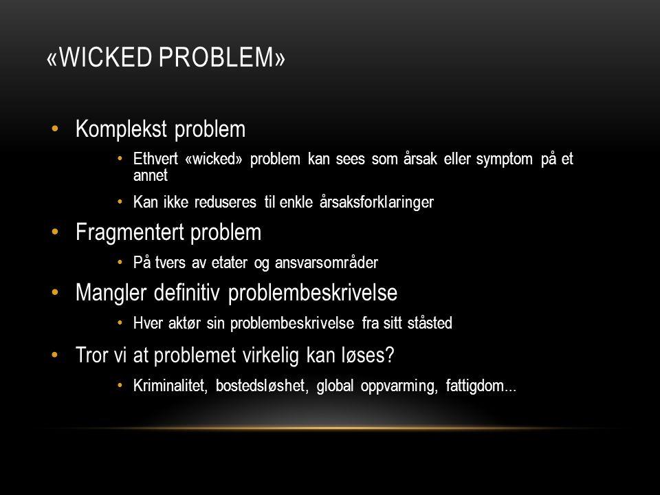 «Wicked problem» Komplekst problem Fragmentert problem