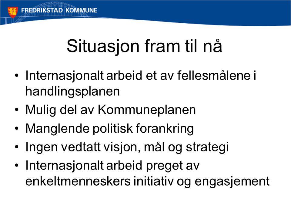 Situasjon fram til nå Internasjonalt arbeid et av fellesmålene i handlingsplanen. Mulig del av Kommuneplanen.