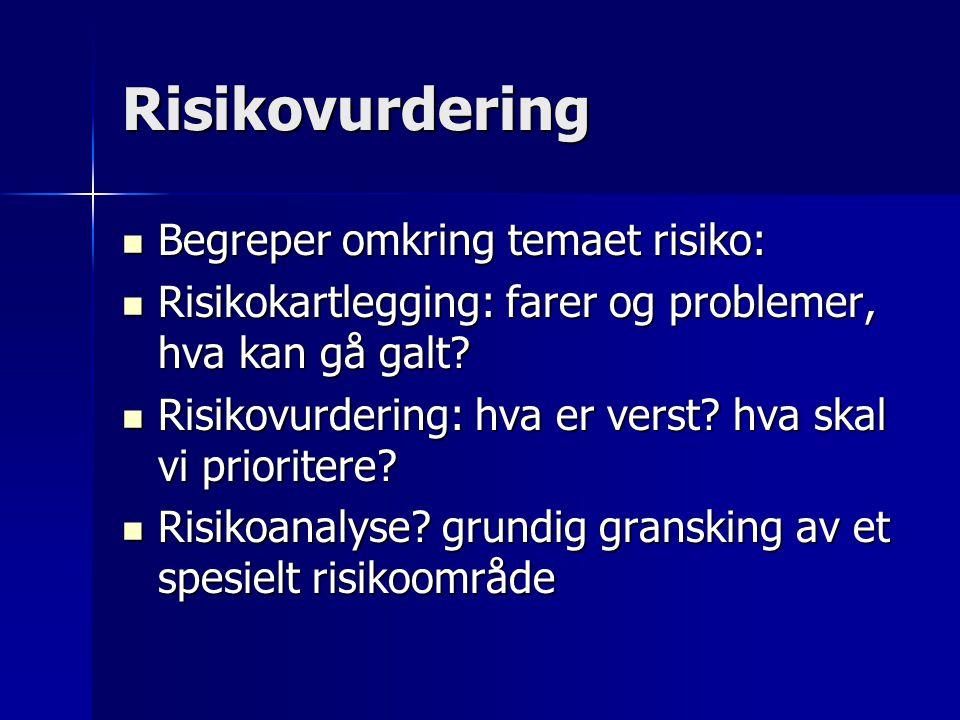 Risikovurdering Begreper omkring temaet risiko: