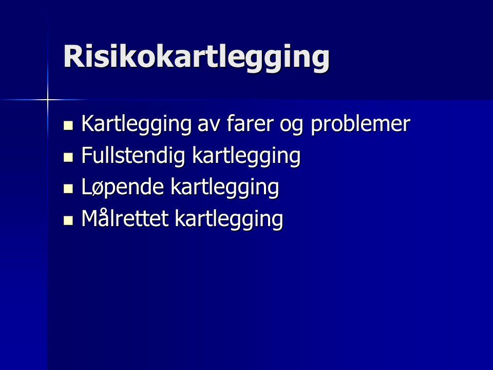 Risikokartlegging Kartlegging av farer og problemer