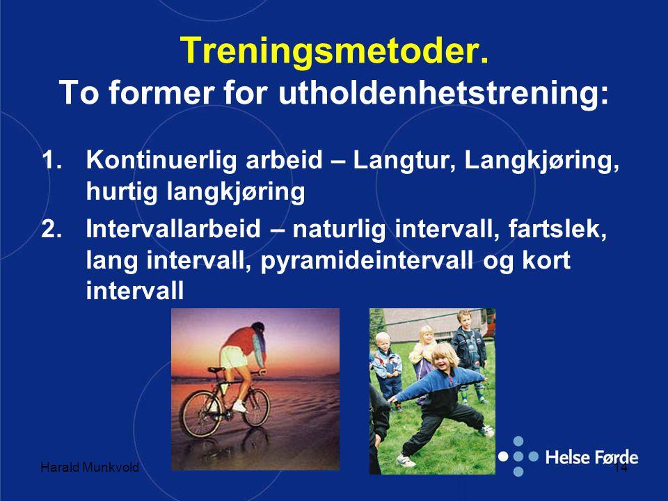 Treningsmetoder. To former for utholdenhetstrening: