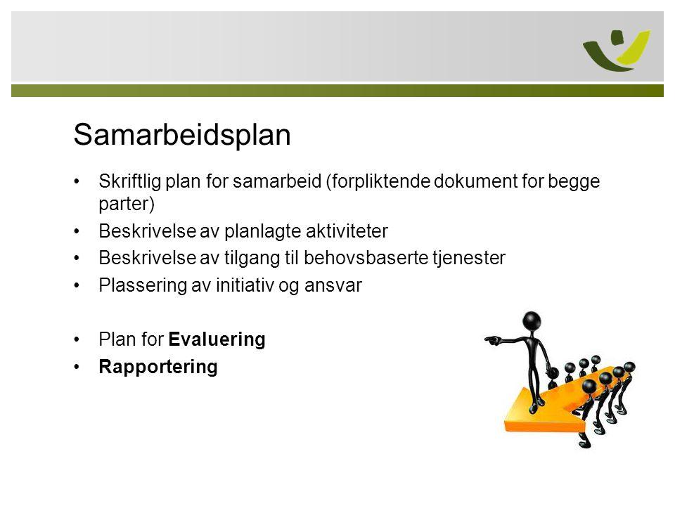 Samarbeidsplan Skriftlig plan for samarbeid (forpliktende dokument for begge parter) Beskrivelse av planlagte aktiviteter.