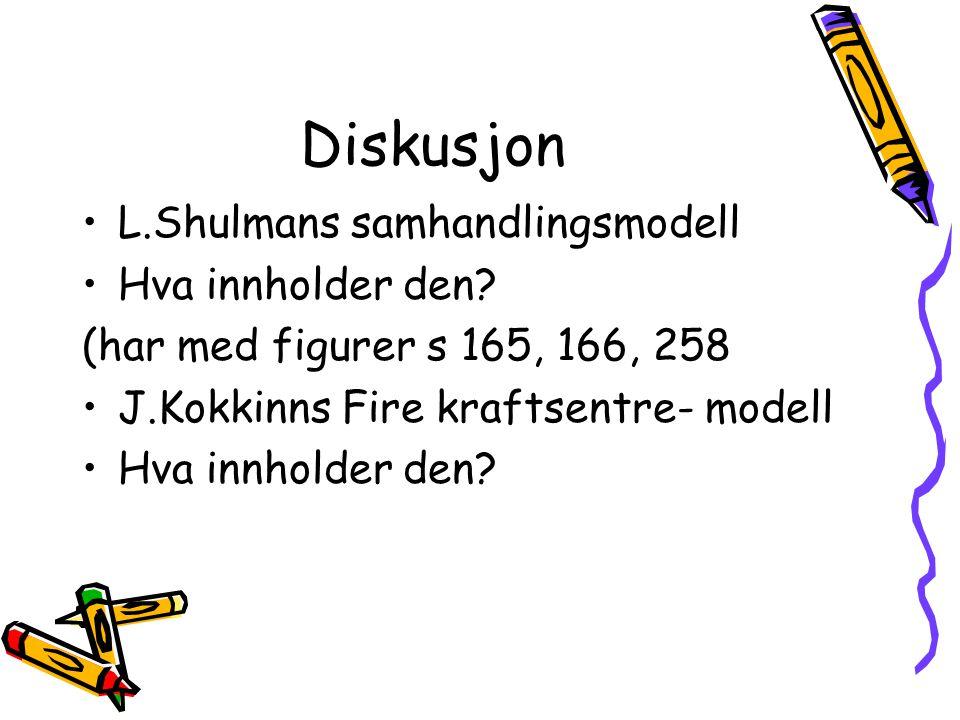 Diskusjon L.Shulmans samhandlingsmodell Hva innholder den
