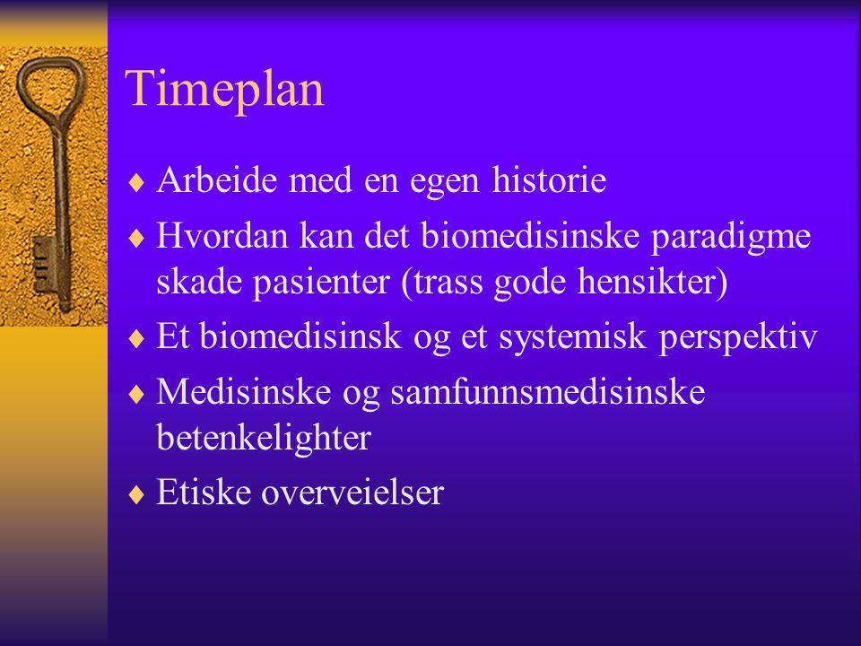 Timeplan Arbeide med en egen historie