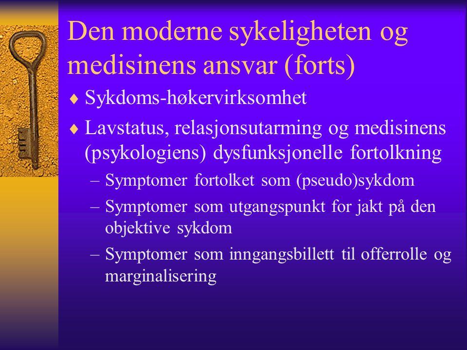 Den moderne sykeligheten og medisinens ansvar (forts)