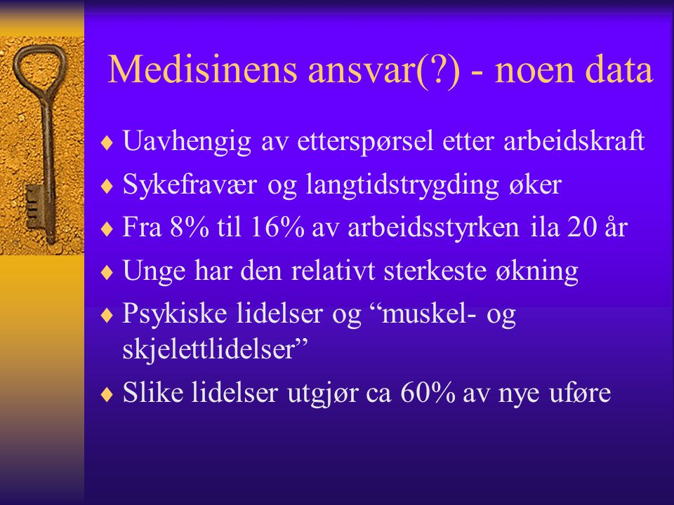 Medisinens ansvar( ) - noen data