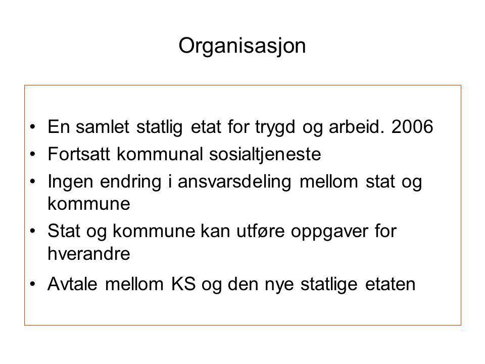 Organisasjon En samlet statlig etat for trygd og arbeid. 2006