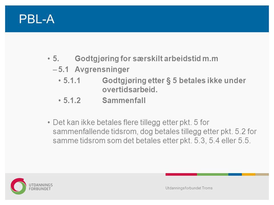 PBL-A 5. Godtgjøring for særskilt arbeidstid m.m 5.1 Avgrensninger