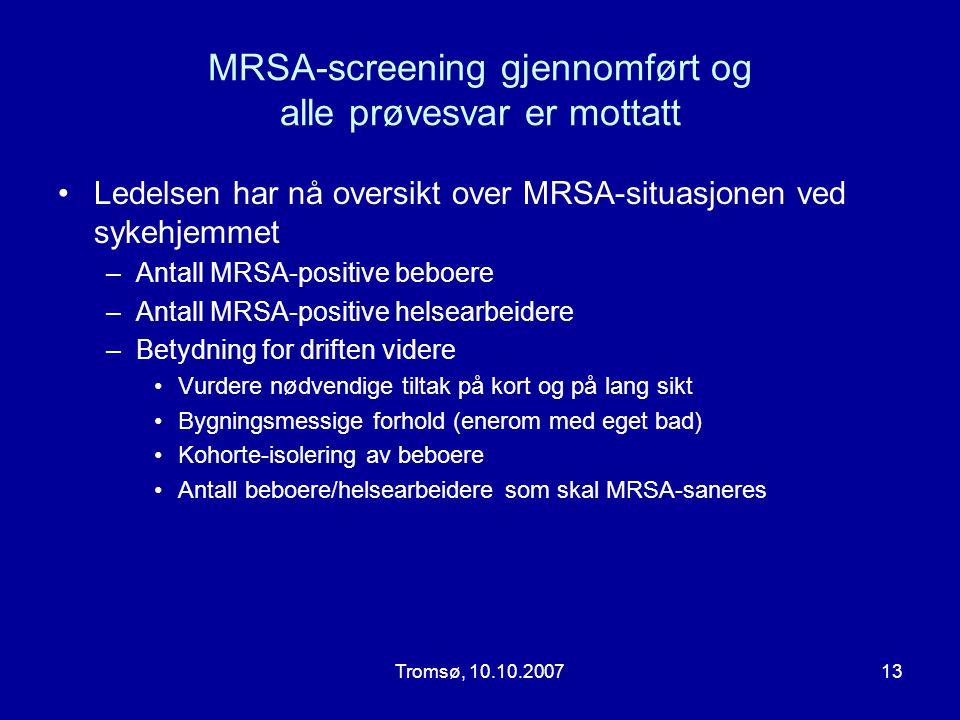 MRSA-screening gjennomført og alle prøvesvar er mottatt