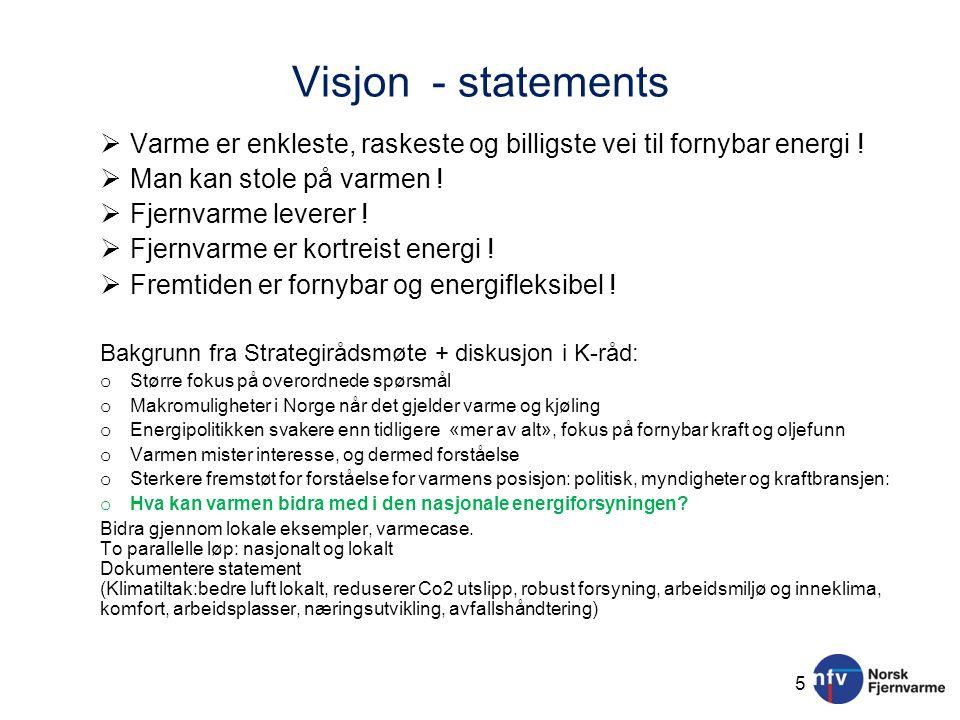 Visjon - statements Varme er enkleste, raskeste og billigste vei til fornybar energi ! Man kan stole på varmen !