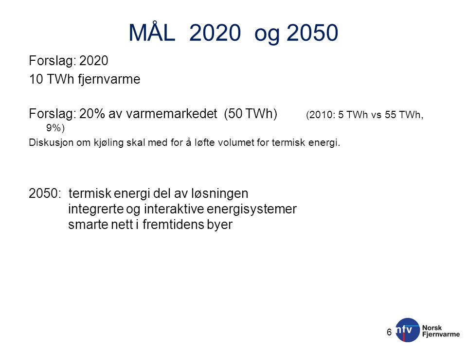 MÅL 2020 og 2050 Forslag: 2020 10 TWh fjernvarme