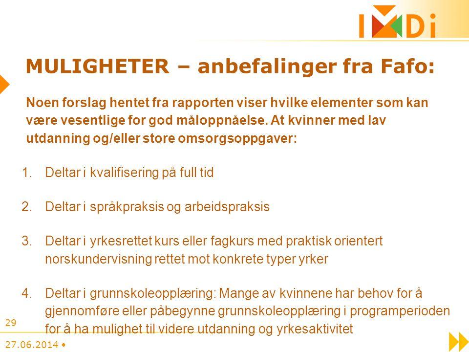 MULIGHETER – anbefalinger fra Fafo: